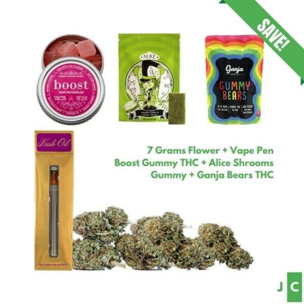 7 Grams Flower + 3 Gummy Packs + Vape Pen Bundle #2